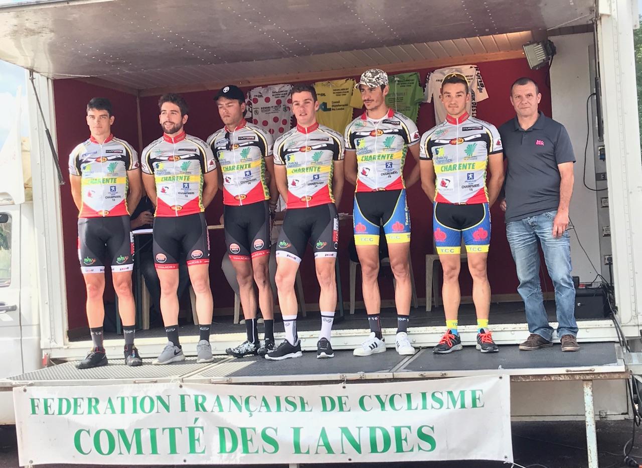 Du 02/09 au 03/09/2017   TOUR DES LANDES(40) etape 1  Victoire de Lucien Capot (Mixte AC4B-Team Cycliste Châteaubernard) , 9 ème Ludovic NADON ENT AC4B/TCC ,17 ème Alexis DILIGEART ENT AC4B/TCC , 22 ème Damien DELOMME ENT AC4B/TCC , 51 ème Corentin NADON ENT AC4B/TCC , 75 ème Gerard TORRES ENT AC4B/TCC.