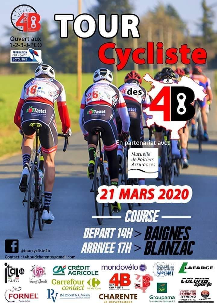 Le 2 ème Tour des 4B - Baignes-Blanzac -Cat 1-2-3-J-PC Open samedi 21 mars 2020