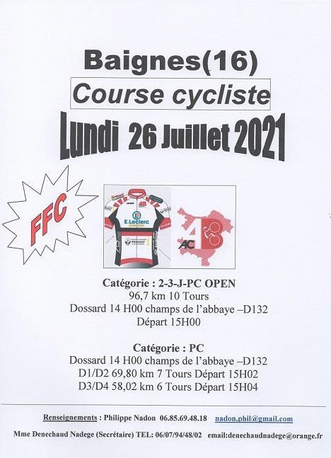 Le 26/07/2021 l'AC4B organise une course (FFC)à Baignes (16)(16)