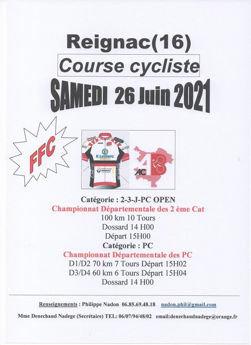 Le 26/06/2021 l'AC4B organise une course (FFC)à Reignac (16)